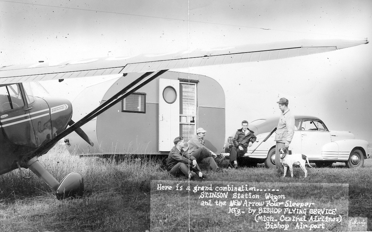 In the background is an Arrow Four camper built by Bishop Flying Service,  Bishop Airport, Michigan. The airport is now Bishop Internationatl Airport,  Flint, ...